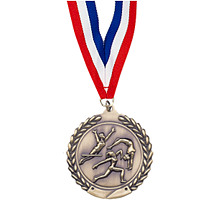 "Large 2 3/4"" Gymnastics - Female - Laurel Wreath Medal with Ribbon"