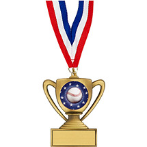 "Baseball Medal - 2 3/4"" Trophy-Shape Baseball Medal with 30"" Red, White and Blue Neck Ribbon"