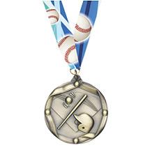 Baseball Medal - Gold-Tone Baseball Medal