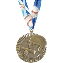 Baseball Medal - Baseball Star Medal with Ribbon