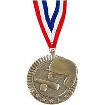 "Baseball Medal - 2 3/4"" Baseball Star Medal with Ribbon"