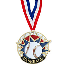 "Baseball Medal - 2"" Colorful Baseball Medal with Neck Ribbon"