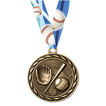 Baseball Medal with Neck Ribbon