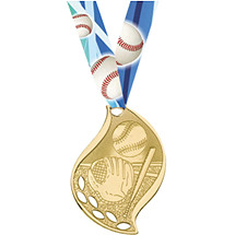 Modern Gold Baseball Medal with Neck Ribbon
