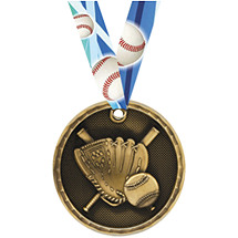 3D Baseball Medal with Neck Ribbon