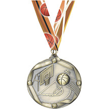 Antique Gold Basketball Medal with Neck Ribbon