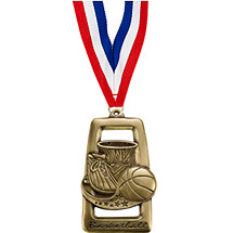 Rectangular Basketball Medal with Neck Ribbon