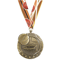Basketball Star Medal with Ribbon