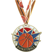 Colorful Basketball Medal with Neck Ribbon