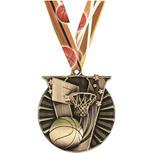 Victory Basketball Medal with Neck Ribbon