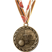 Basketball Medal with Neck Ribbon