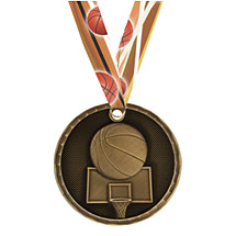 3D Basketball Medal with Neck Ribbon
