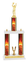 Basketball Trophy - Three Column Basketball Trophy