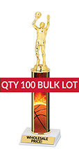Buy in Bulk Basketball Trophy - Classic 10 inch Basketball Trophy - Qty of 100