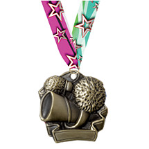 "2 1/4"" Cheerleading Medal with Ribbon"