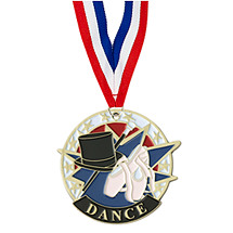 "Dance Medal - 2"" Colorful Dance Medal with Neck Ribbon"