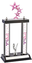 "Dance Trophy - 15 - 13"" 2 Column Dazzling Pink Dance Trophy"