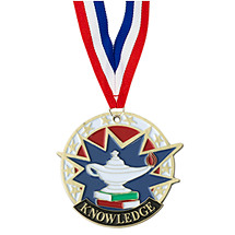 "2"" Colorful Knowledge Medal with Neck Ribbon"