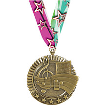 "2 3/4"" Music Star Medal with Ribbon"