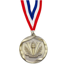 Antique Gold Victory Medal with Neck Ribbon