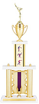 Gymnastics Column Trophy with Backdrop Riser