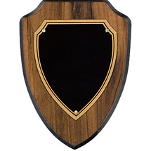 "5 1/2 x 6 1/2"" Black Brass Shield Plaque"