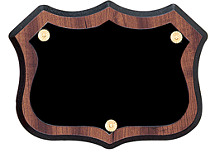"5 1/2 x 6 1/2"" Badge-Shape Black Brass Shield Plaque"