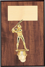 """7 x 9"""" Walnut-Tone Wall Plaque with Gold Figure"""