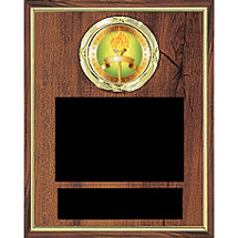 "6 x 8"" Individual Employee Plaque w/Emblem and 2 Black Brass Plates"