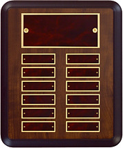 "9 x 12"" Burgundy  Perpetual Plaque - 12 Nameplates"