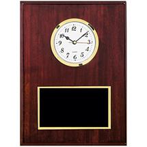 Traditional Plaque with Black Brass Plate & Quartz Clock