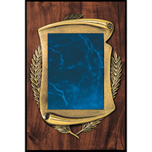 "Medium 9 x 12"" Topaz Blue Bronze Scroll Plaque"