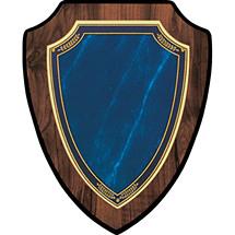 "Large 7 x 9 - 8 x 10"" Topaz Blue Shield-Shaped Plaque"