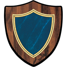 "7 x 8"" Topaz Blue Shield-Shaped Plaque"
