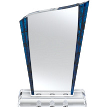 "5 1/2 x 8 1/2"" Blue Marbleized Award with Magnetic Fasteners"