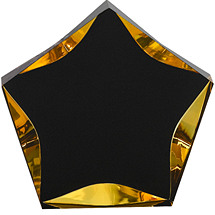 "5"" Luminary Star Award - Gold with Black Plate"