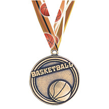 Cast Basketball Medal with Ribbon