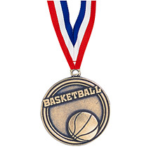 "2"" Basketball Medal with Ribbon"