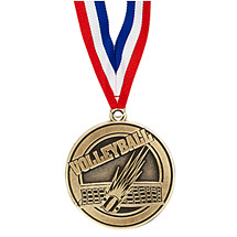 "2"" Volleyball Medal with Ribbon"