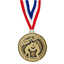 "2"" Wrestling Medal with Ribbon"