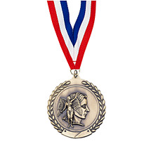 "Small 1 3/4"" Achievement Laurel Wreath Medal with Ribbon"