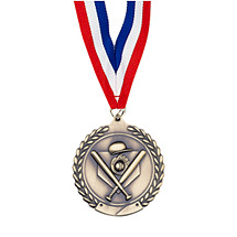 "Baseball Medal - Small 1 3/4"" Baseball Laurel Wreath Medal with Ribbon"