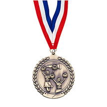 "Small 1 3/4"" Cheer Laurel Wreath Medal with Ribbon"
