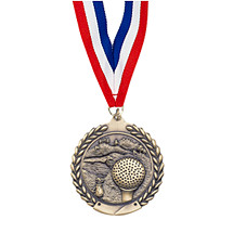 "Large 2 3/4"" Golf Laurel Wreath Medal with Ribbon"