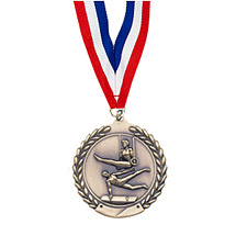 "Small 1 3/4"" Gymnastics - Male - Laurel Wreath Medal with Ribbon"