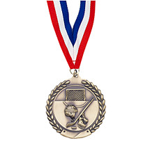 "Large 2 3/4"" Hockey Laurel Wreath Medal with Ribbon"