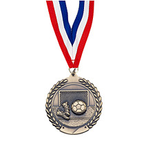 "Soccer Medal - Large 2 3/4"" Soccer Laurel Wreath Medal with Ribbon"