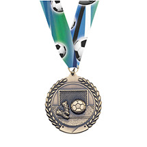 Soccer Medal - Large Soccer Laurel Wreath Medal with Ribbon