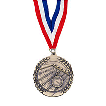 "Small 1 3/4"" Swimming Laurel Wreath Medal with Ribbon"