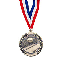 "Small 1 3/4"" Volleyball Laurel Wreath Medal with Ribbon"